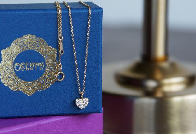 画像1: 【14KGF】CZ Pava Heart Necklace
