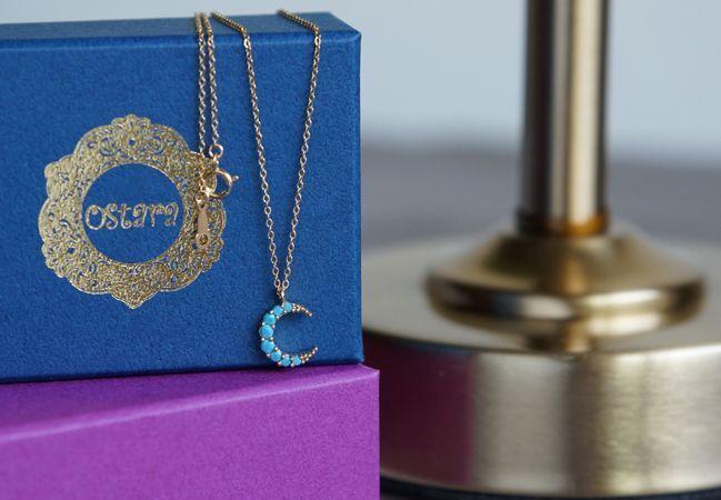 画像1: 【14KGF】Turquoise Crescent Moon Necklace