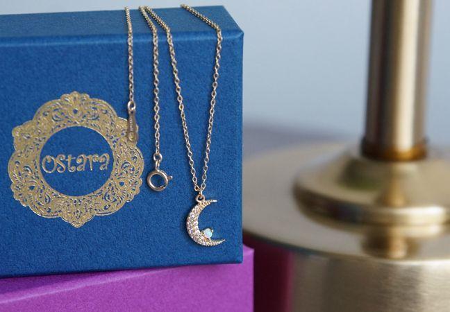 画像1: 【14KGF】CZ Pave Crescent Moon Opal Necklace