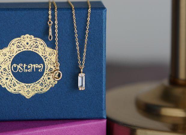 画像1: 【14KGF】 Rectangle Crystal CZ Classical Necklace