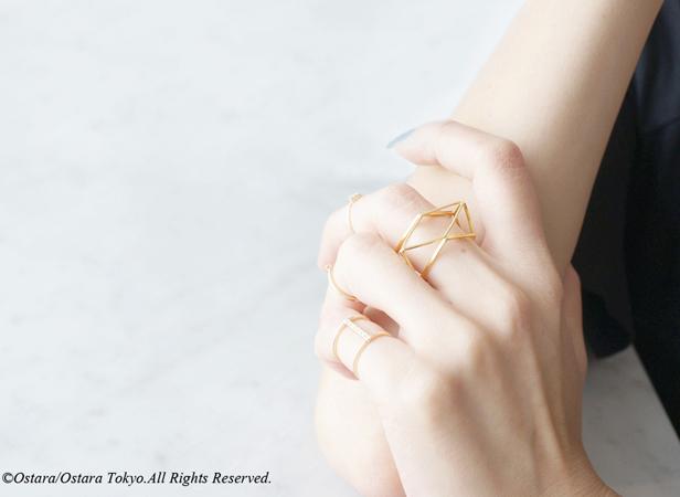 画像1: 【Geo】Ring-3D Gold Geometry-