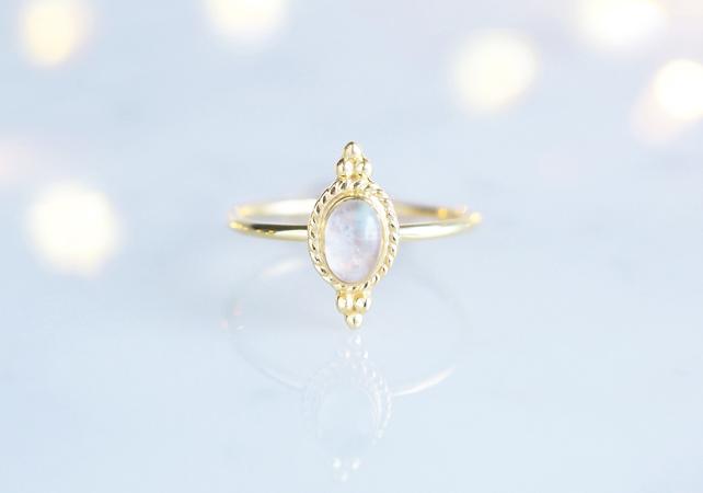 画像1: 【Gold Vermeil/Gemstone】 Open Ring -Rainbow Moon Stone-,Phalange Ring,Midi Ring