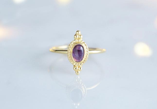 画像1: 【Gold Vermeil/Gemstone】 Open Ring -Amethyst-,Phalange Ring,Midi Ring