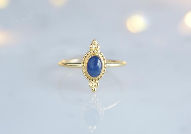 画像1: 【Gold Vermeil/Gemstone】 Open Ring -Blue Sapphire-,Phalange Ring,Midi Ring