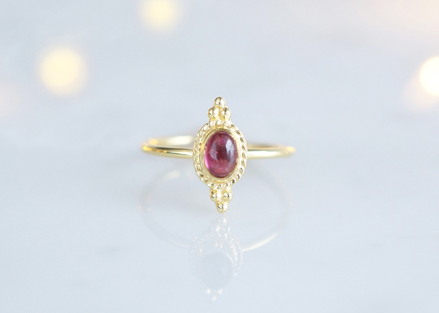画像1: 【Gold Vermeil/Gemstone】 Open Ring -Pink Tourmaline-,Phalange Ring,Midi Ring