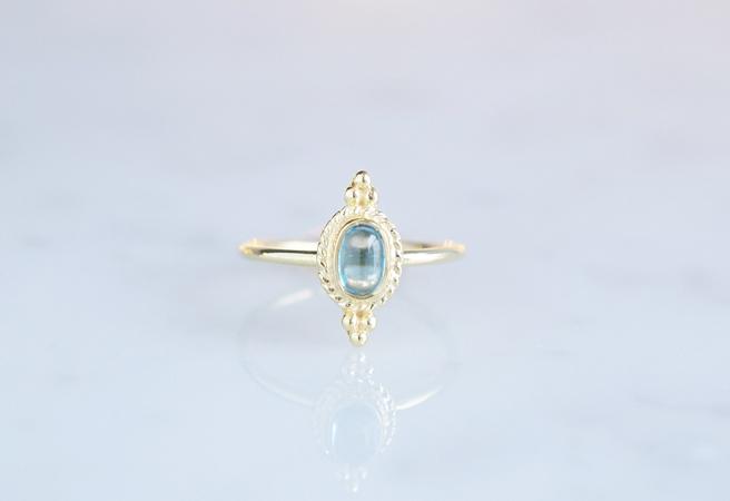 画像1: 【Gold Vermeil/Gemstone】 Open Ring -Blue Topaz-,Phalange Ring,Midi Ring