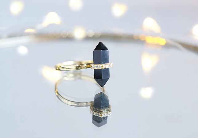 画像1: 【Gold Vermeil/Gemstone】 Stuck Ring -Black Onyx-
