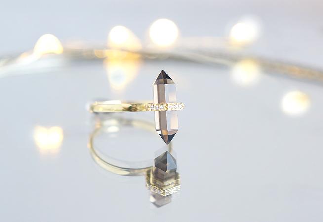 画像1: 【Gold Vermeil/Gemstone】 Stuck Ring -Smoky Quartz-