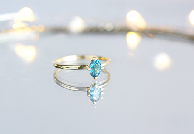 画像1: 【Gold Vermeil/Gemstone】 Stuck Ring-London Blue Topaz-