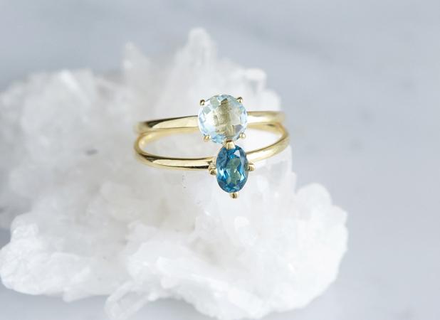 画像1: 【Gold Vermeil/Gemstone】 Stuck Ring-Blue Topaz-