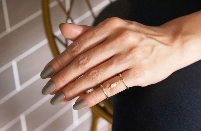 画像1: 【Sterling silver 925 】Oval CZ Adjustable Double Chain Ring