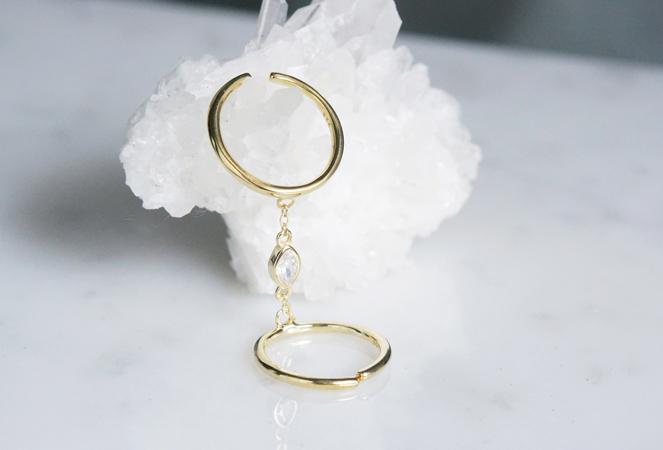 画像4: 【Sterling silver 925 】Oval CZ Adjustable Double Chain Ring