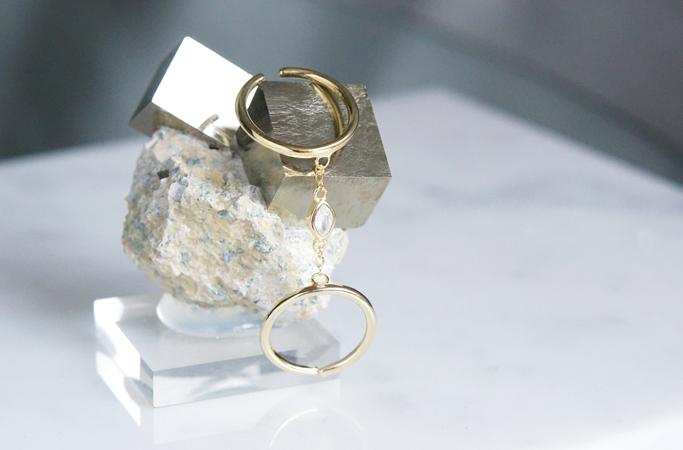 画像5: 【Sterling silver 925 】Oval CZ Adjustable Double Chain Ring