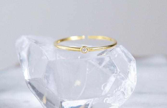 画像1: 【Dainty & Minimalist】Silver925 Minimum CZ Adjustable Open Ring