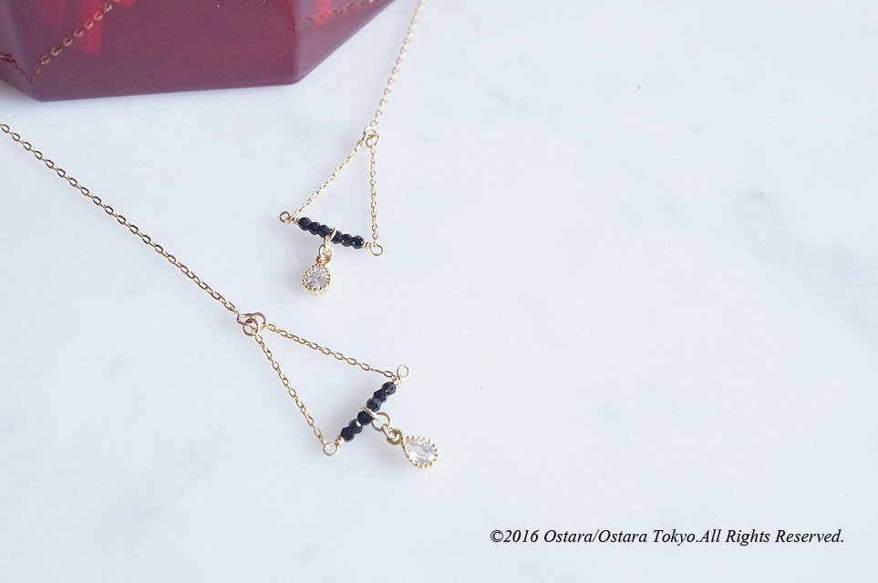画像1: 【Monica】14KGF,Ear Thread Earrings,Dangle Triangle