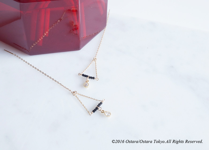 画像2: 【Monica】14KGF,Ear Thread Earrings,Dangle Triangle