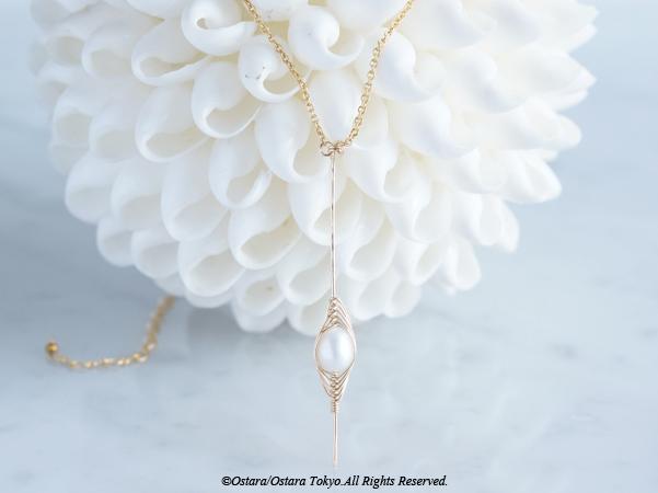 画像1: 【Tsubomi】14KGF Necklace-White Pearl-