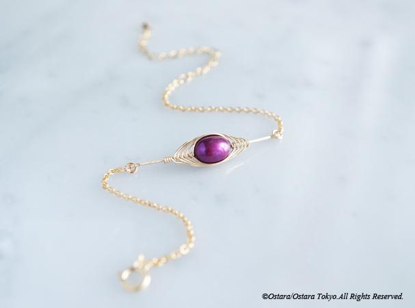 画像1: 【Tsubomi】14KGF Bracelet-Purple Pearl-