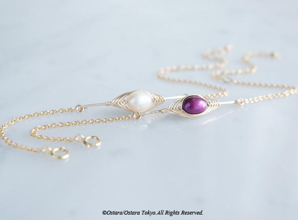 画像2: 【Tsubomi】14KGF Bracelet-Purple Pearl-