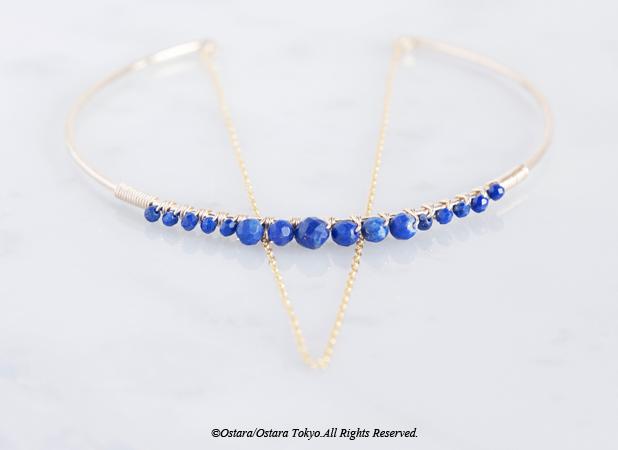 画像1: 【14KGF】Hammered Open Chain Wire Bangle-Lapis Lazuli-