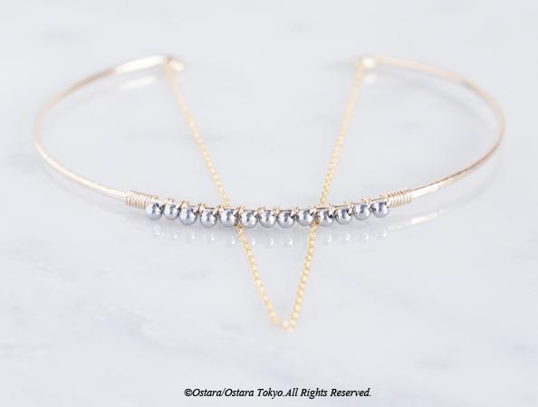画像1: 【14KGF】Hammered Open Chain Wire Bangle-Silver Hematite-