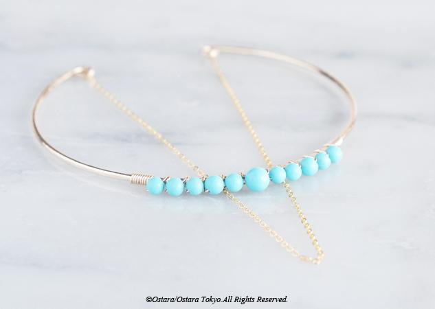 画像1: 【14KGF】Hammered Open Chain Wire Bangle-Turquoise-