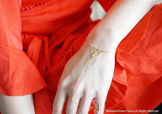 画像1: 【14KGF】Ring Bracelet,14KGF Chain Triangle