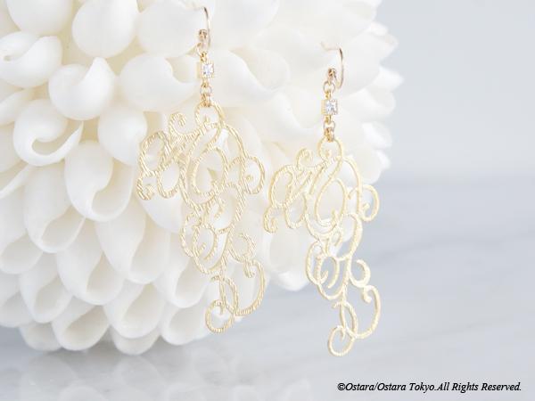 画像1: 【14KGF】Earrings,Matt Gold Elegant Filigree