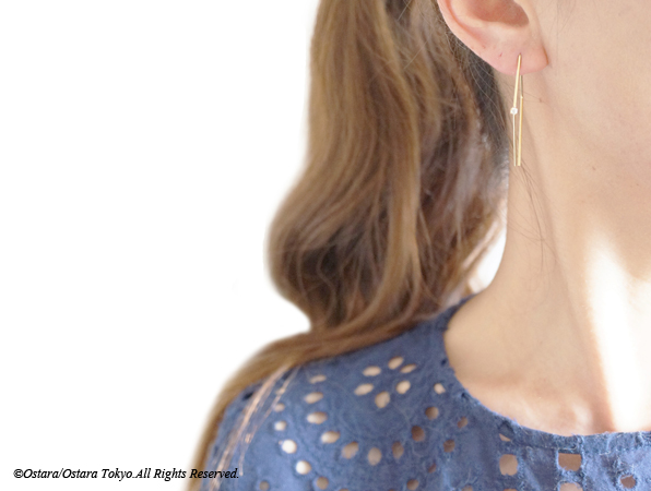 画像5: CZ Rhombus Glossy Gold Earrings