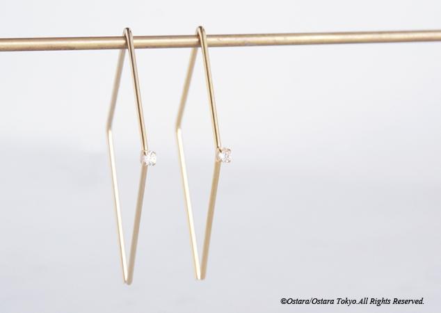 画像1: CZ Rhombus Glossy Gold Earrings