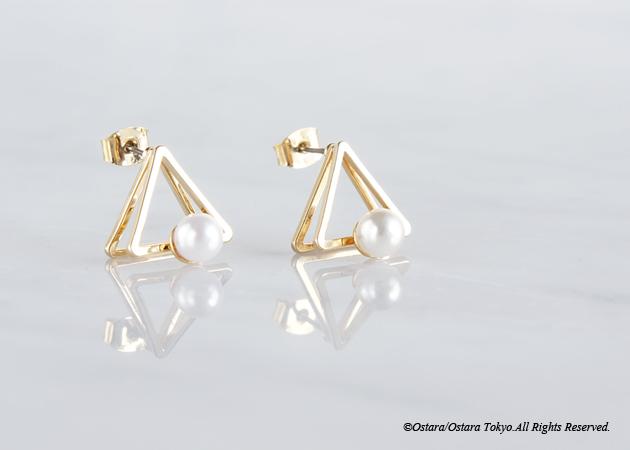 画像3: Glossy Gold Triangle Pearl Stud Earrings