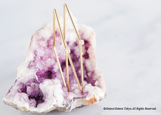 画像3: CZ Rhombus Glossy Gold Earrings