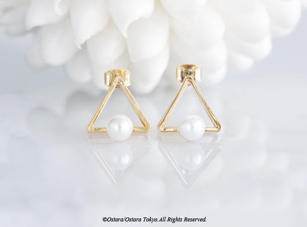 画像4: Glossy Gold Triangle Pearl Stud Earrings