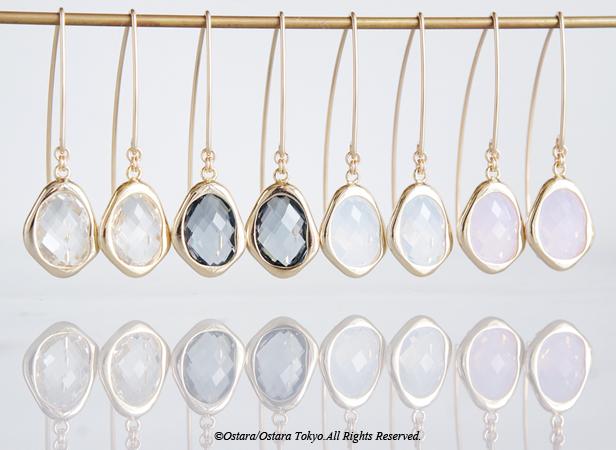画像1: 【14KGF】Leaf Hook Earrings,,Glossy Color Glass