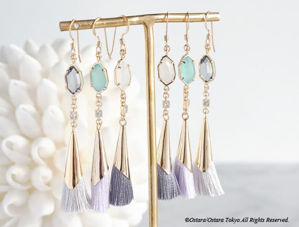 画像1: 【14KGF】Earrings,Pale Color Tassel