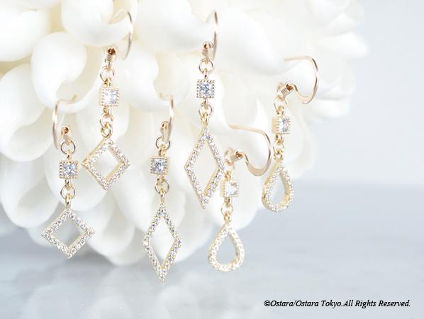 画像1: 【14KGF】Earrings,Tiny Double CZ-Rhombus-