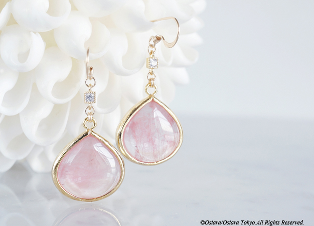画像1: 【14KGF】GlossyTeardrop Glass,CZ Earrings-Cherry Quartz-