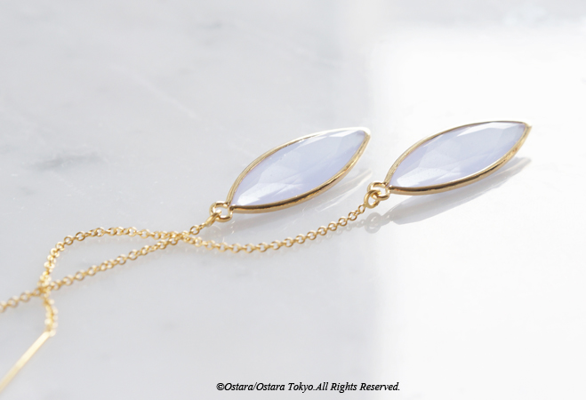 画像1: 【14KGF】Ear Thread Earrings,Light Blue Grey Opal〜Lavender Opal