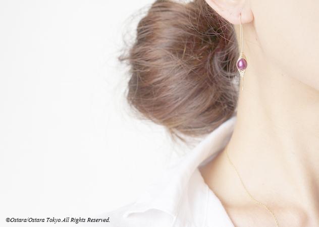 """画像1: 【Tsubomi】14KGF Earrings-A-""""Purple Pearl"""""""