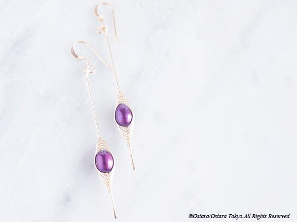 """画像1: 【Tsubomi】14KGF Earrings-B-""""Purple Pearl"""""""