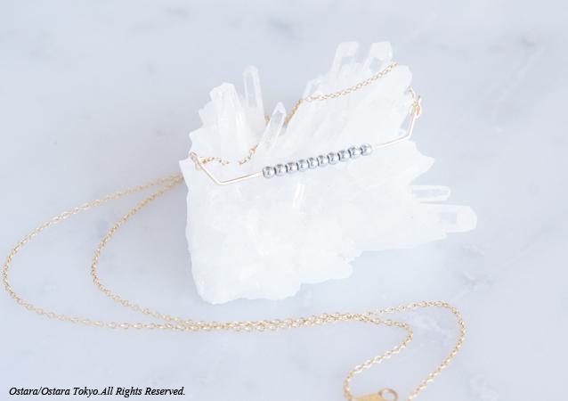 画像1: 【Minimalism】14KGF Necklace,Gems Bar-- SilverxGold--