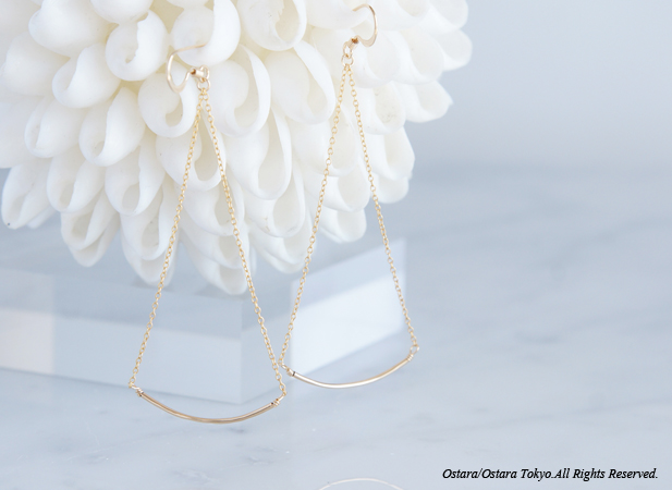 画像1: 【Minimalism】14KGF Cuvy Bar Earrings,-- GoldxGold--
