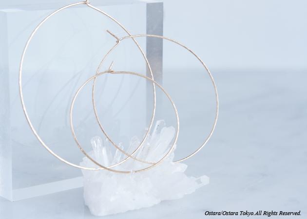 画像1: 【Minimalism】14KGF Hammered Hoop Earrings[4cm/5cm/6cm]