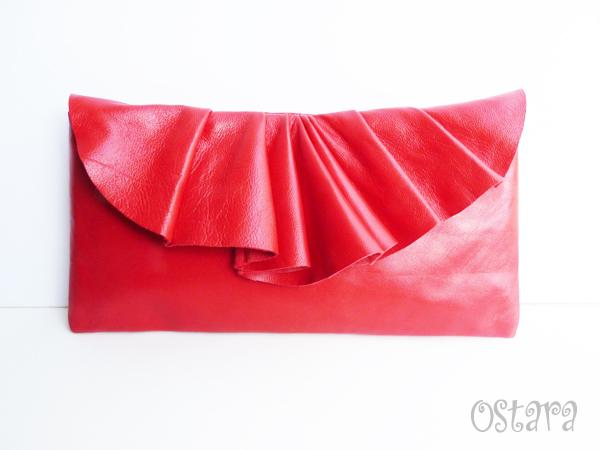 画像1: Leather Pleated Clutch Bag(S-size) in Red by Vicki From Europe