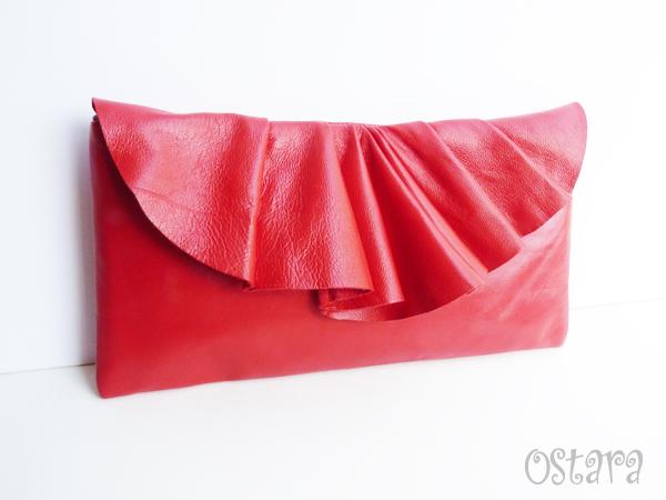 画像2: Leather Pleated Clutch Bag(S-size) in Red by Vicki From Europe