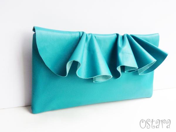 画像3: Leather Ruffle Clutch bag(S-size) in Jade by Vicki From Europe