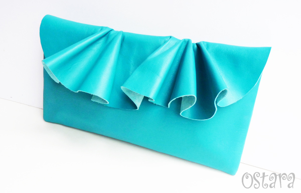 画像1: Leather Ruffle Clutch bag(S-size) in Jade by Vicki From Europe