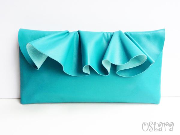 画像2: Leather Ruffle Clutch bag(S-size) in Jade by Vicki From Europe