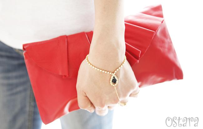 画像5: Leather Pleated Clutch Bag(S-size) in Red by Vicki From Europe