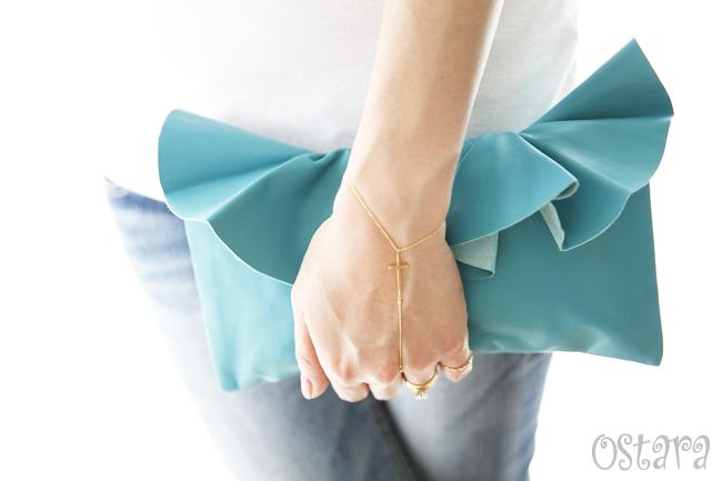 画像5: Leather Ruffle Clutch bag(S-size) in Jade by Vicki From Europe